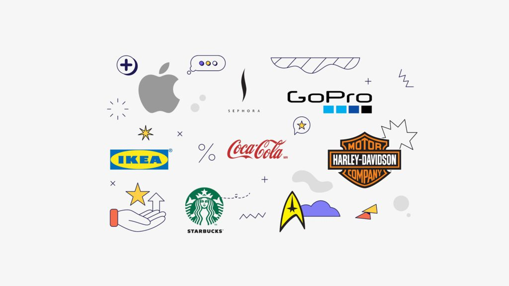 the logos for the Top 8 Brand Loyalty Examples